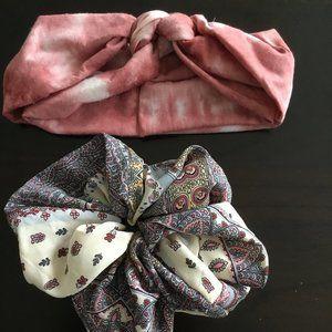 Tie dye soft head wrap and XL Scrunch 2 items!